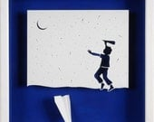 DREAM DISAPPOINTED - paper cut and paper sculpture - photographic reproduction art card
