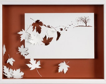 GALE - Paper cut and paper sculpture - photographic reproduction art card
