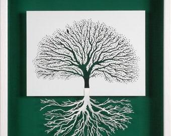 ROOTING - paper cut and paper sculpture - photographic reproduction art card