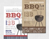 BACKYARD BBQ INVITATIONS (printable) Summer Party - Print Your Own
