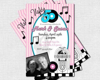50's RETRO INVITATIONS - 50th Anniversary or Birthday Party Photo Invites (print your own) Personalized 1950's Printable