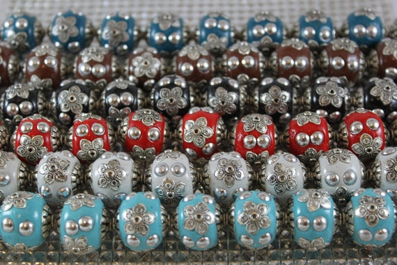 Tibetan style, colorful beads with silver colored accents