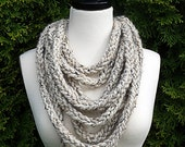Chunky Infinity Wool Scarf Necklace In Birch Tweed Creamy Beige Colorings