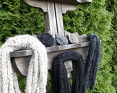 Chunky Infinity Wool Scarf Necklace In Obsidian Black Colorings Handmade Knit Crochet
