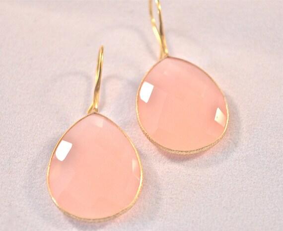 Rose Quartz Tear Drop Earrings
