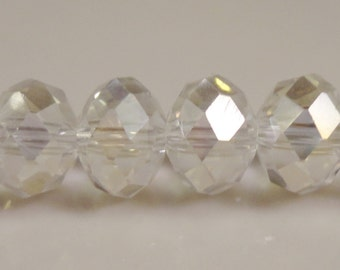 Clear Crystal Rondelles 8x6mm (6x8mm) Clear AB Chinese Faceted Crystal Beads on an 8 Inch Strand with 35 Beads