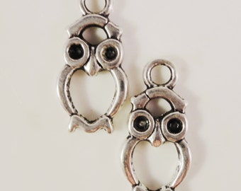 Owl Charms Silver 21x10mm Antique Silver Tone Metal Owl Bird Charm Pendant Jewelry Findings 10pcs