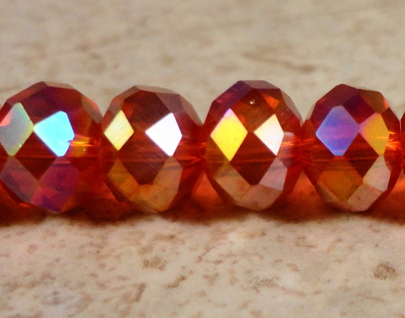Red Crystal Rondelle Beads 5x7mm Faceted Chinese Crystal Red AB on a 7 1/4 Inch Strand with 35 Beads