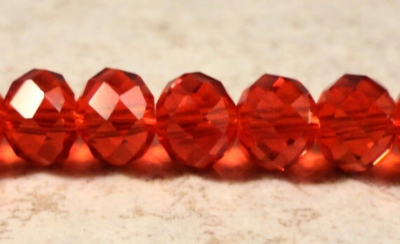 Red Rondelle Crystal Beads 8x6mm (6x8mm) Ruby Red Faceted Chinese Crystal Glass Abacus Beads on an 8 1/2 Inch Strand with 35 Beads