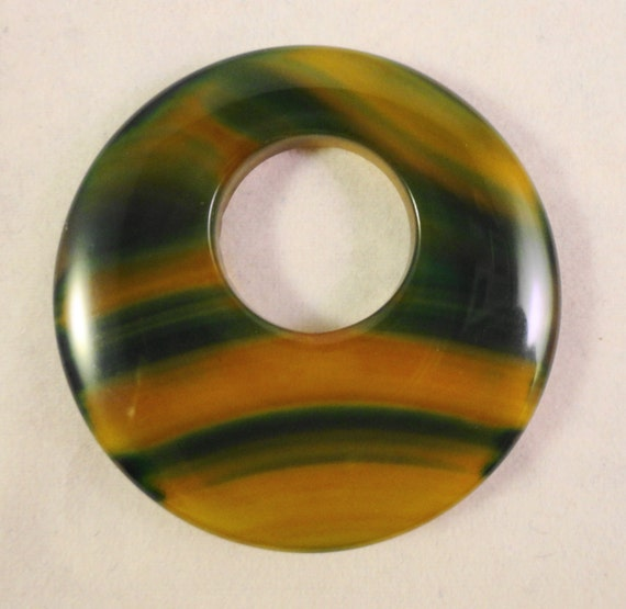 Agate Gemstone Pendant 40mm Green and Yellow Striped Agate Natural Stone Donut Pendant Bead 1 Piece