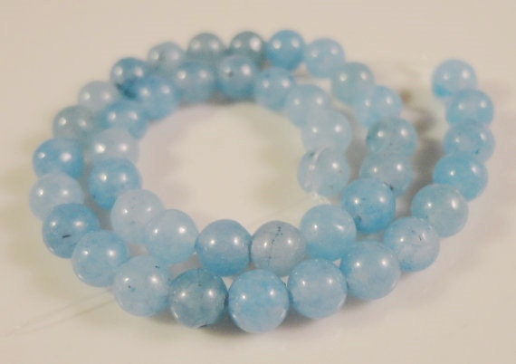 Aquamarine Gemstone Rounds 4mm Dyed Blue Gemstone Beads on a 7 Inch Strand with 43 Beads