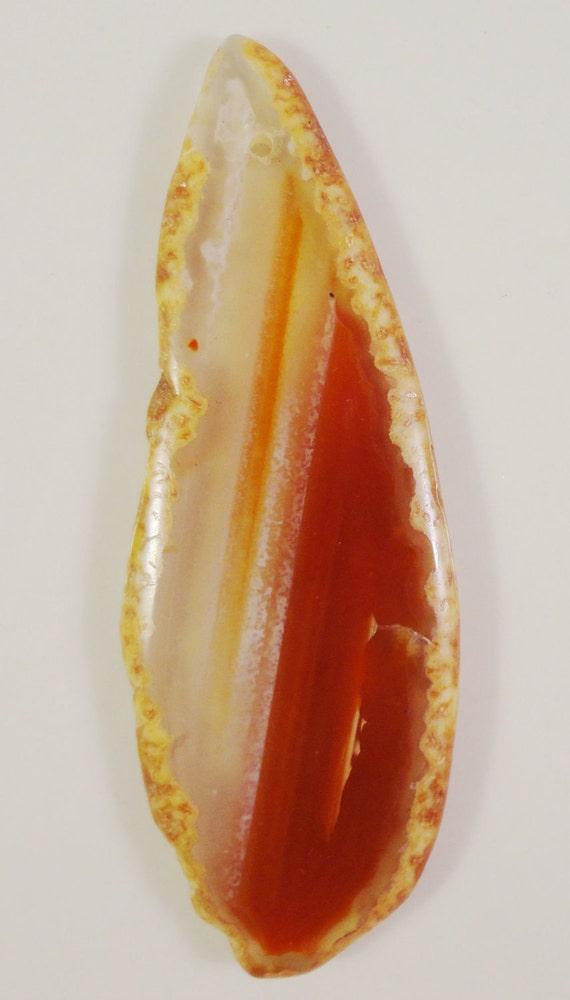 Agate Slice Pendant 80x30x5mm Natural Red Orange Large Gemstone Pendant Bead 1pc