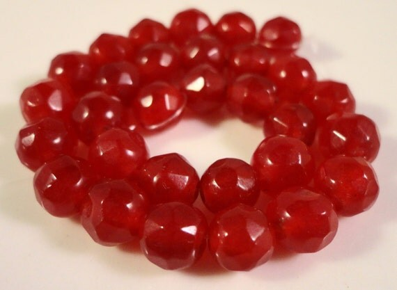 Red Jade Gemstone Beads 6mm Faceted Round Red Candy Jade Dyed Red Stone Beads for Jewelry Making on a 7 Inch Strand with 30 Beads