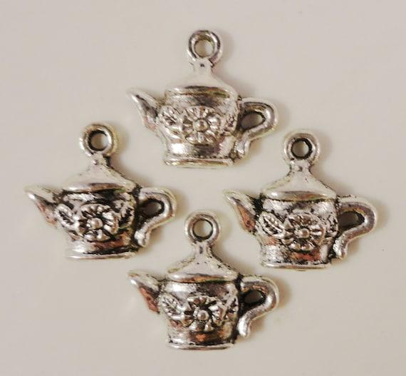 Silver Teapot Charms 14x16mm Antique Silver Metal Tea Pot Charm Flower Teapot Pendants Lead Free Nickel Free Jewelry Charms Supplies 10pcs