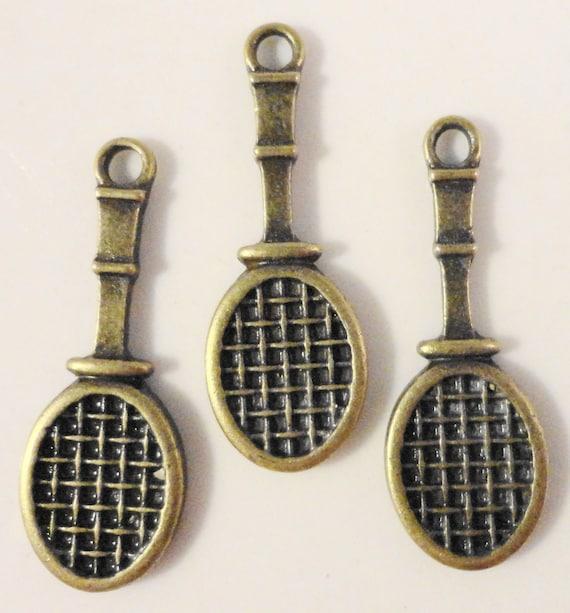 Tennis Racquet Charms 29x10mm Antique Brass Tone Metal (Bronze) Sports Charm Pendant Lead Free Jewelry Findings 10pcs