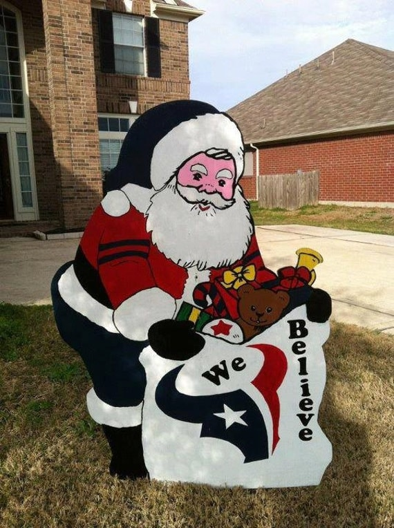 Houston Texans Christmas Santa Yard Decor
