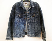 80s - Heart Breaker - Vintage Distressed Denim, Men's Lee Jacket, Vintage Lee Jean Jacket - Size 40 M