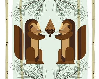 Poster Retro cabin Midcentury 50's modernist Print woodland squirrel pine birch log Children Nursery Decor