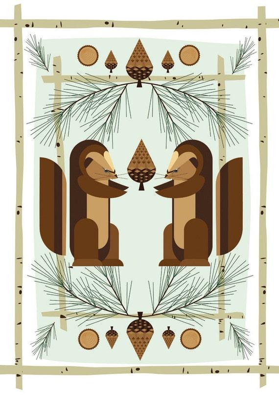 Poster Retro cabin Midcentury 50's modernist Print woodland squirrel pine birch log Children Nursery Decor