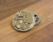 Knopfverdeckung, Manschettenknopf, Steampunk, Dieselpunk, Uhrwerk 2 cm Durchmesser