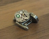Pair of cufflinks, steampunk with 2 Swarofski cristals