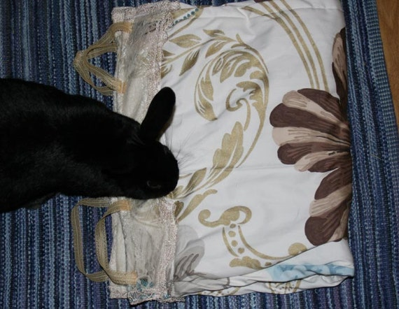 to benefit Big Ears Sanctuary soft carrier liner for rabbits quilted cotton  floral and fleur de lis fabric with vintage lace