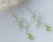 Peridot Green Crystal and Matte Silver Leaf Dangle Earrings. Spring. FREE SHIPPING