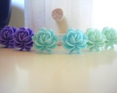 I've Got The Blues - Purple Passion Baby Blue and Minty Green ruffled resin flower earrings - sweet accessories