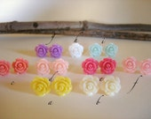 Five Pairs - The Little Candy Rose Shoppe - You Choose - Resin Earrings, Tiny Roses, Rose Earrings - For bridesmaids, Gift idea