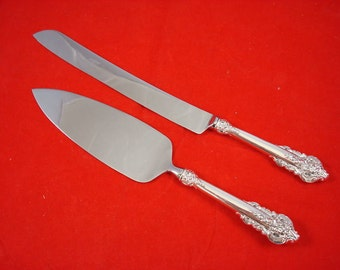 antique silver wedding cake knife sterling silver handle 2 pc wedding set gift wedding cake 10791