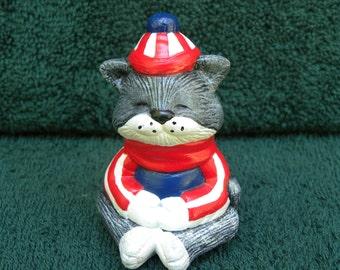 "USA, Kitty, Cat, Kitten, Red White & Blue, Patriotic, Americana, American Fan Ceramic Nic nacs Figurine, Gift, Indiana,USA Made, 2.75"" Tall"