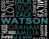 ANY size Custom Personalized Family Names Print Subway Art print PICKUP ONLY