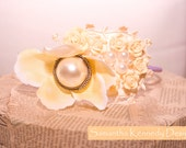 Vintage Style Headband, Yellow Flower and Mini Roses and Pearl Details.  An instant Outfit Update.