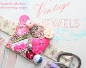 PINK PETALS - Beaded Bracelet - Buttons, Beads and Charms with VINTAGE buckle