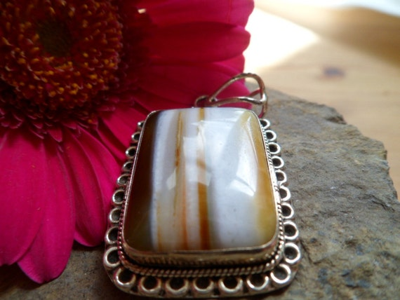 striped agate sterling pendant, caramel, toffee, chocolate cabochon.