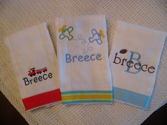 Set of 3 Personalized Monogrammed Burp Cloths for Him