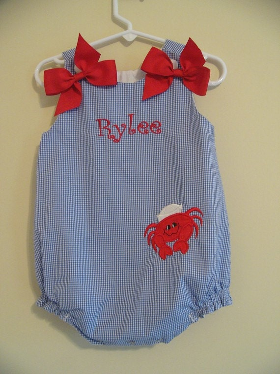 Custom made Personalized Monogrammed Crab Bubble One-Piece SunSuit