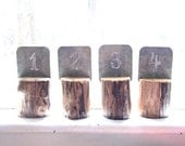 rustic wood table numbers for wedding reception, with reclaimed barn tin & spalted maple logs