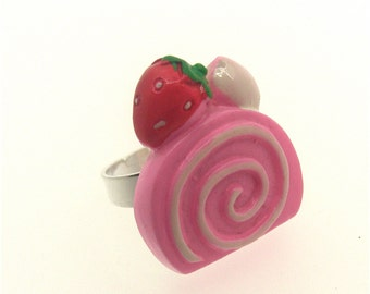 Pink Cake Slice Ring, Kawaii, Kitsch, Fairy Kei, Harajuku, Princess