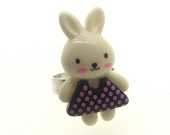 Cute Bunny in a spotty dress ring - black, Kawaii, Kitsch, Fairy Kei, Lolita, Harajuku