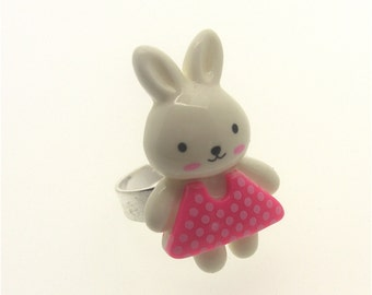 Cute Bunny in a spotty dress ring - pink, Kawaii, Kitsch, Fairy Kei, Lolita, Harajuku