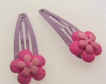 Pair of Lilac Snap Clips With Pink Spotty Flowers, Kawaii, Kitsch, Lolita, Fairy Kei, Harajuku
