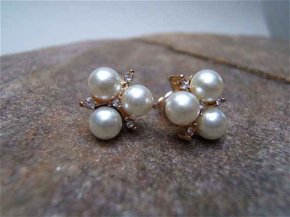 Vintage Pearl and gold diamond earrings, probably costume jewelry