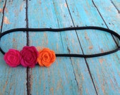 Petite triple flower stretch headband