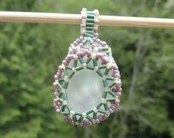 Seaglass Woven Bead Pendant
