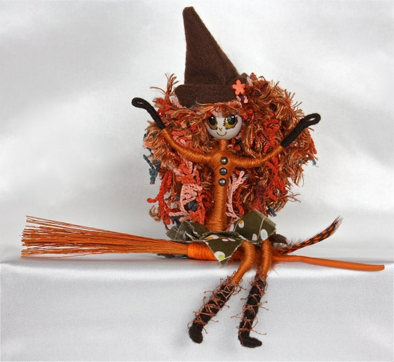 Halloween Witch Doll Handmade Art Doll OOAK One Of A Kind