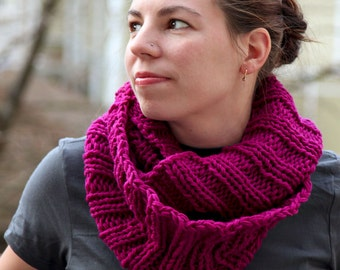 Knitted Ribbed Infinity Reversible Cowl Pattern - Mallory Child & Adult Version PDF