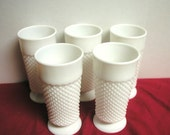 White Diamond Cut Milk Glass Footed Glasses- Vintage Set of 5