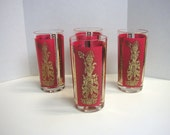 Vintage Gold and Red Glasses, Indian/Middle Asian Theme, Set of 4