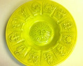 Vintage Yellow Zodiac Large Ceramic Bowl/ Ashtray/ Wall Decor 1970
